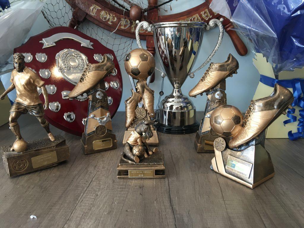 Football trophies.