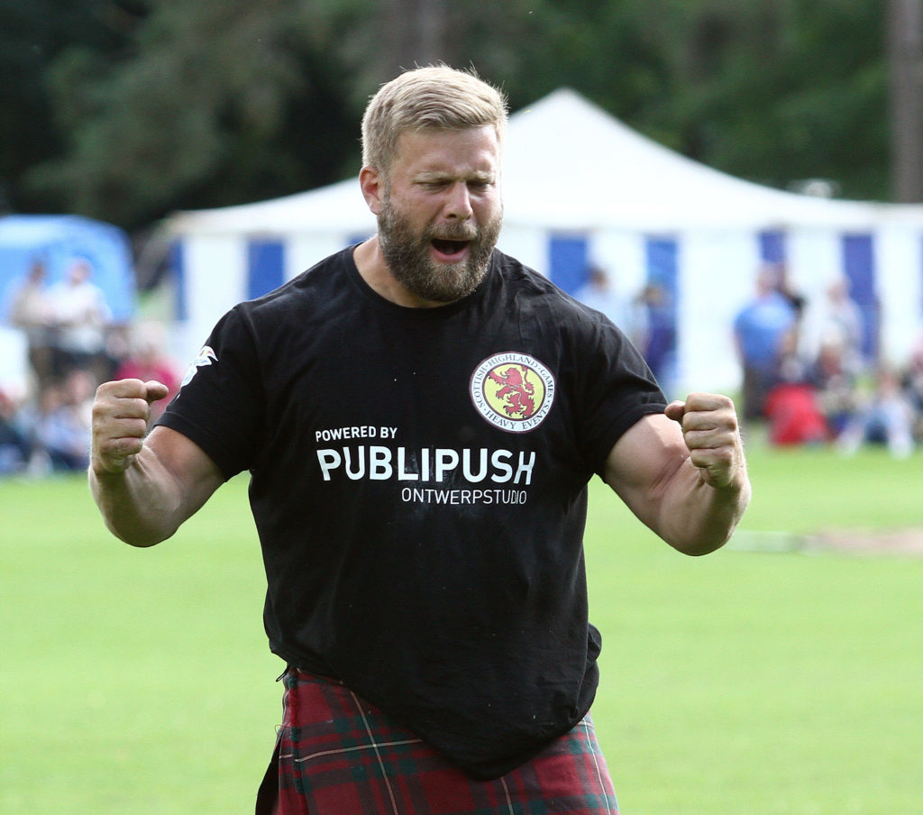 A delighted Scott Rider England World Champion Caber Tosser Inveraray Highland games.  Scott lost his title to Lorne Colthart from Blair Atholl in 2017 but was delighted to win back the title for 2018. picture kevin mcglynn