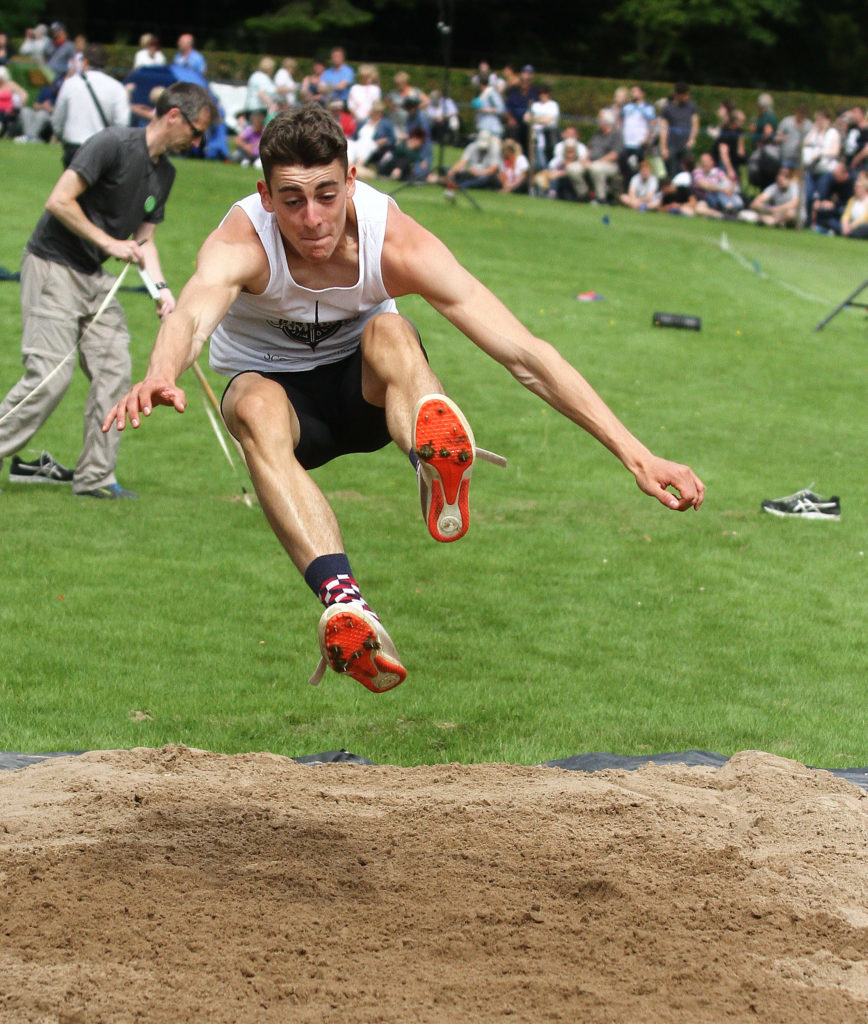 "Aidan Quinn top triple jumper in scotland and in the top ten in Britain held the record at Inveraray for the hop,step and jump but set a new games record 47' 2 and1/2"" . Aidan is moving on from Inveraray to compete at Tobermory on Thursday looking forward to breaking more records. Photograph: Kevin McGlynn"