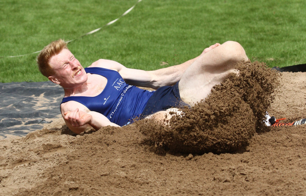 "Jax Thoirs, Glasgow Commonwealth Games pole vaulter 2014, sets a new games record at Inveraray in the long jump of 21'7"" amid a high class field of athletes. Photograph: Kevin McGlynn"