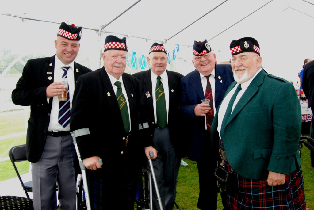 Dunoon veterans enjoying themselves - from left, Paul Breame, ex Royal Corps of Transport; Former Argyll Campbell McAllister; Jim 'Tiger' Lyon, another Argyll; Hector Crawford, ex Artillery; and Roger Stewart, ex Queen's Own Mercian Yeomanry