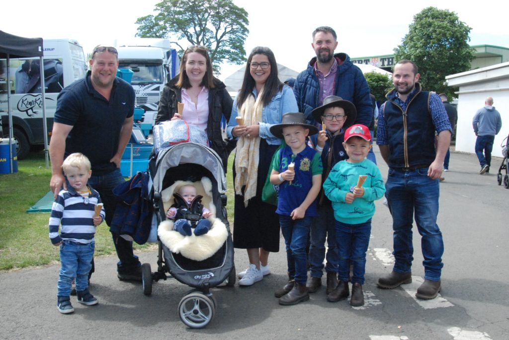Enjoying a day out at the show were the McCullough and Campbell families, pictured with Ormsary man Chris Stewart on the right. 06_a26RHS21_FamilyPic