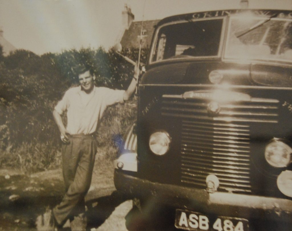 A young Archie Ferguson with a lorry belonging to his uncle, Andrew Grinlaw.