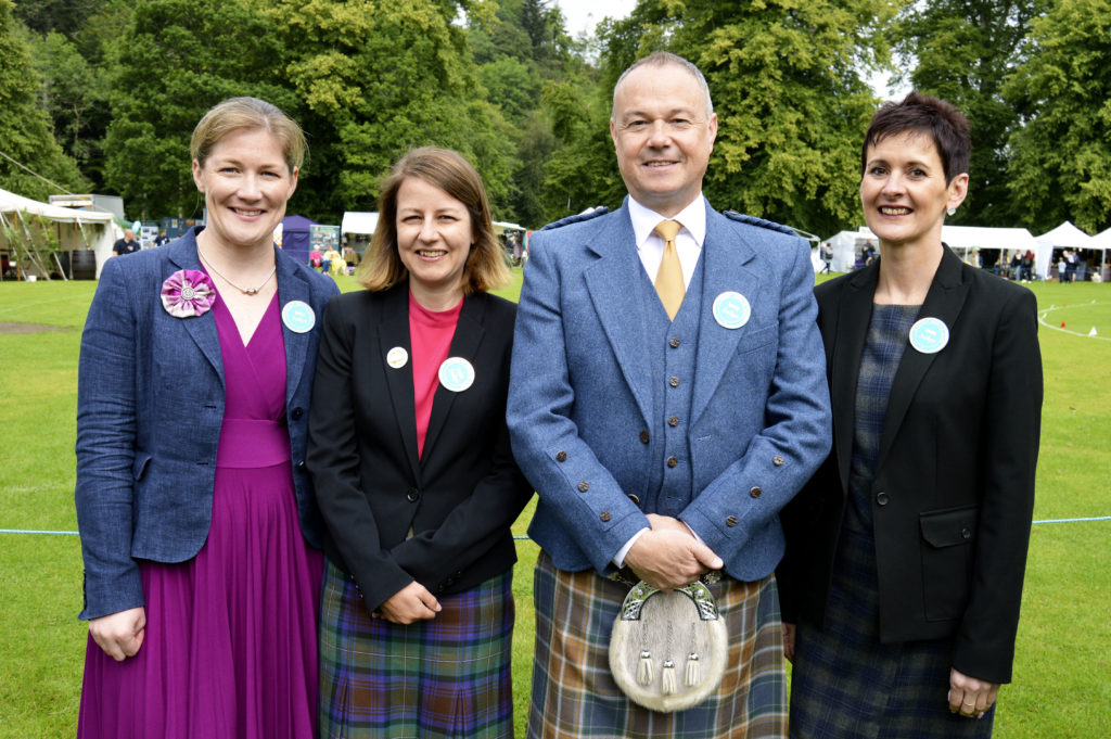 This year's Highland dance judges: Theresa Kelly, Stirling; Kirsty Marsie, Falkirk; Gregor Bowman, Glasgow and Mandy Campbell, Larbert. JS29INVGAMES01