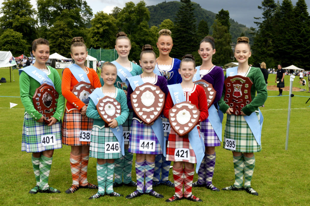 The team to represent Argyll and Bute at the 2020 Scottish Area Finals to be held at the Highlands and Islands Music and Dance Festival in Oban is chosen from the winners at Inveraray.  Back row, left to right: Corah MacLeod, Solana McMurchy, Catriona Gammons, Sophie Baker, Rhiannon Charles and Mollie-Mae Aitken. Front: Skye Erith, Eilidh Gammons, Katie Anderson. JS29INVGAMES24