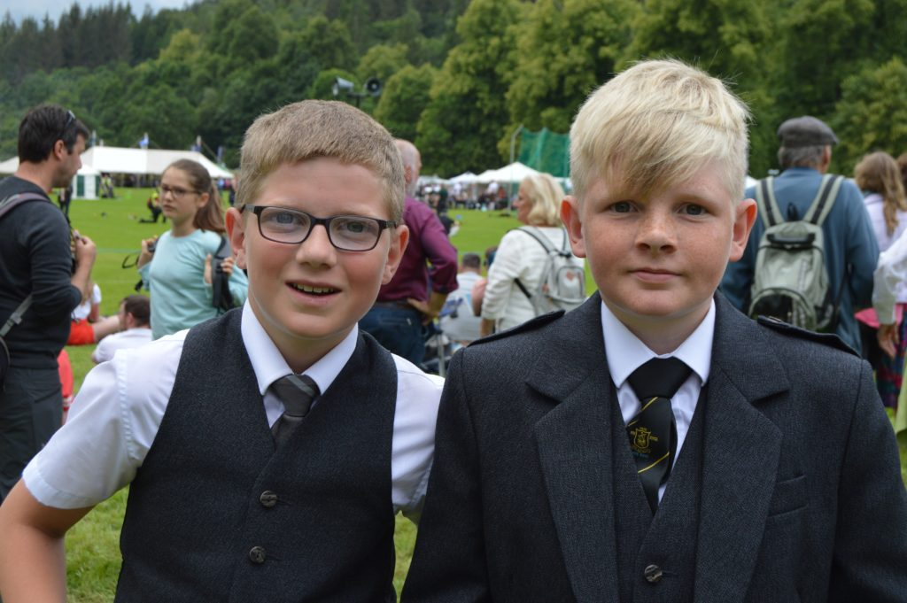 Piping brothers Archie and Logie Johnston of Mull. Archie is with Mull and Iona Pipe Band and Logie is now playing with Oban High School Pipe Band. JS29INVGAMES19