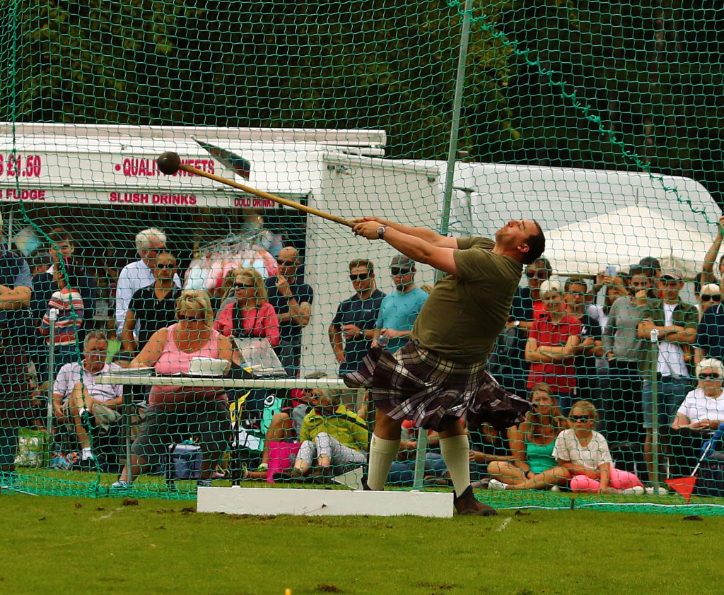 Kyle Randalls Grangemouth won the light hammer. Photograph: Kevin McGlynn