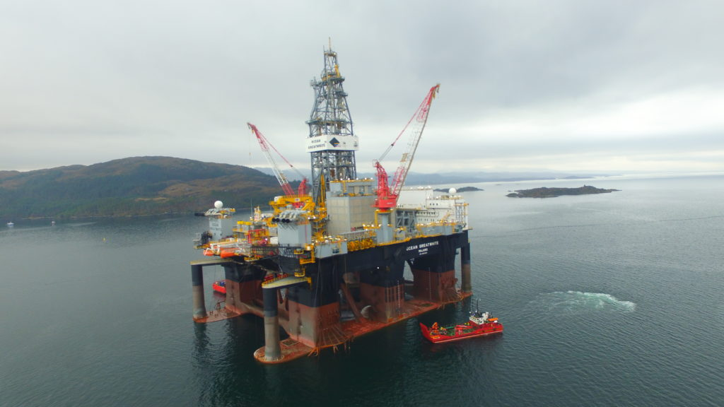 One of Ferguson Transport and Shipping's vessels supplying the world's largest semi-submersible offshore drilling rig, the Ocean GreatWhite, in Kishorn Harbour