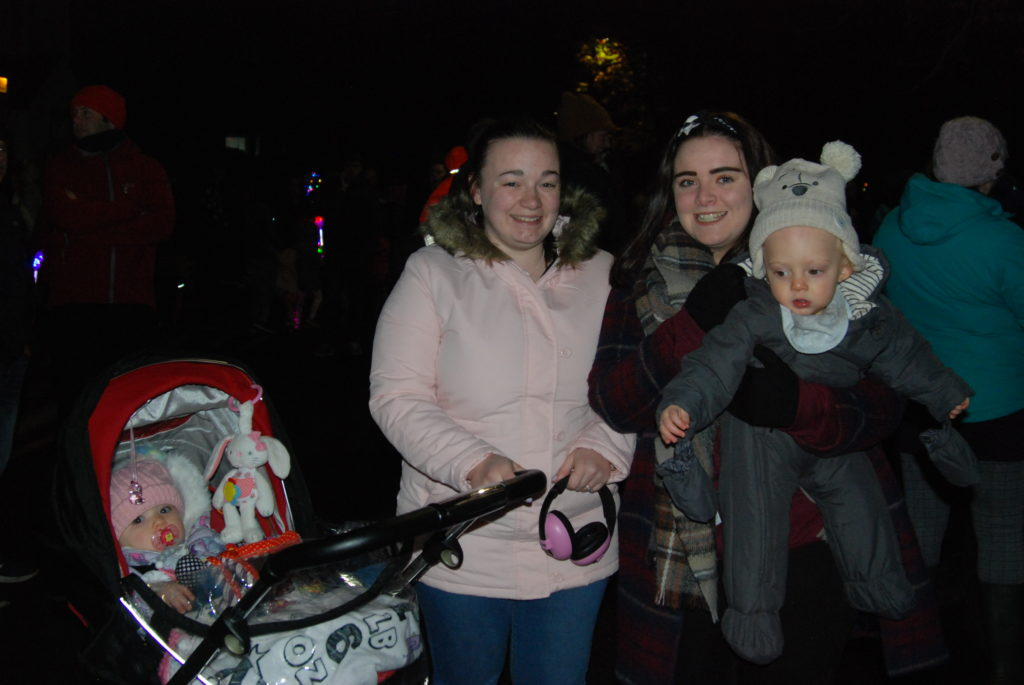 Hanna Taylor and Dominic McFadyen enjoyed the excitement of their first ever bonfire night with mums Chloe Stewart, left, and Jade McFadyen