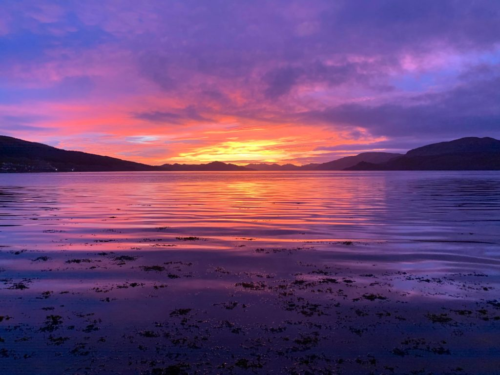 From golden to purple - the same scene from Strachur by Aileen MacNicol, but with a purple sky