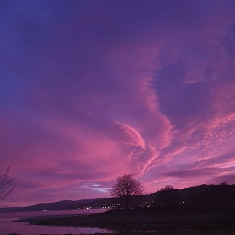 A purple sky over Loch Gilp, taken from Poltalloch Street, Lochgilphead by Joanne Martin