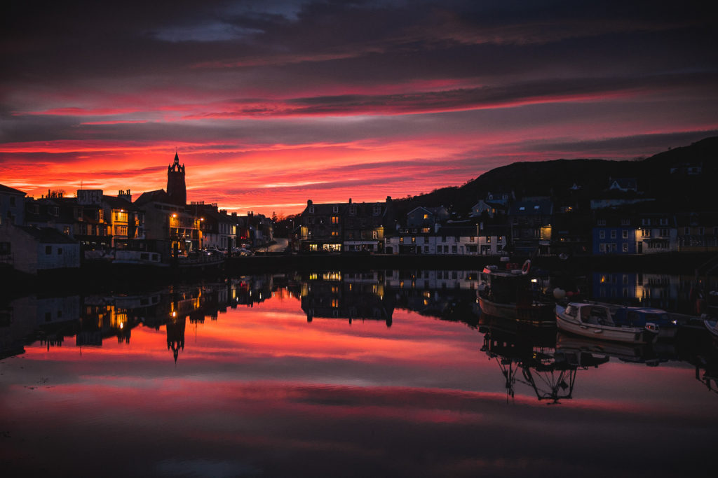A simply stunning image of the sunset over Tarbert, by Marc Pickering