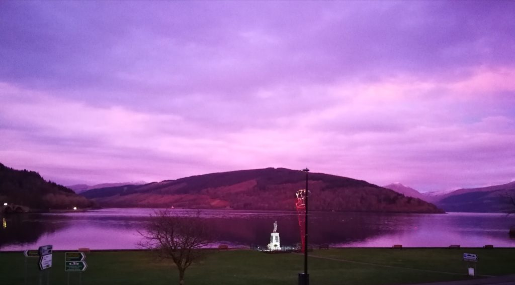 The skies abve Loch Shira and Loch Fyne are purple in this photo from the Inveraray Inn by Mhairi Cartwright