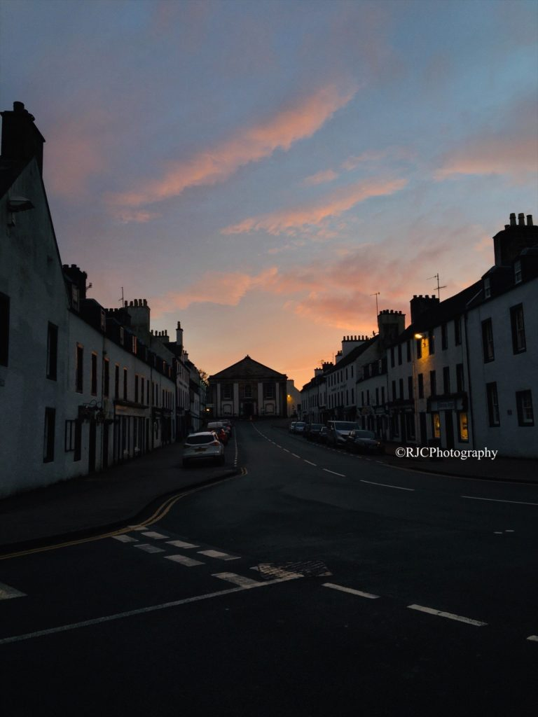 The skies above Inveraray aglow, by Rhiannon Conn