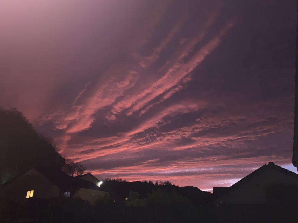 The sunset over Mealdarroch, Tarbert, by Sheena Ferguson