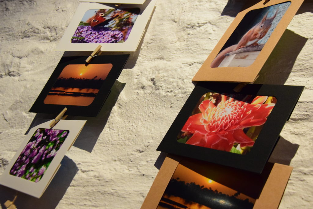 A selection of Carol's photographs, which were available to take away at the memorial Macmillan event