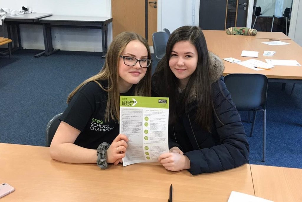 Anthony Nolan school ambassadors Eilidh Graham and Jessica Nelson had information