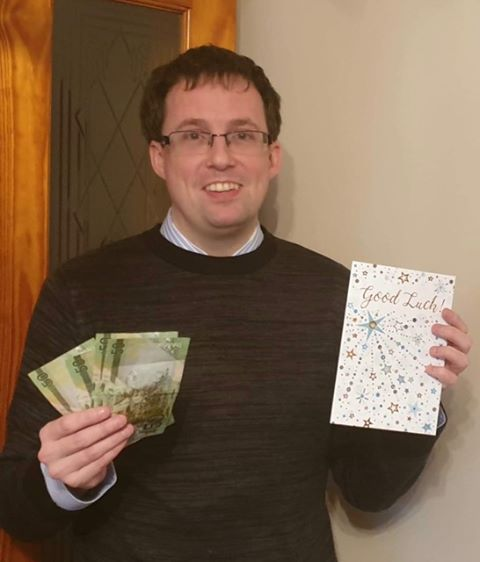 Steven MacBrayne with his farewell gift from the club