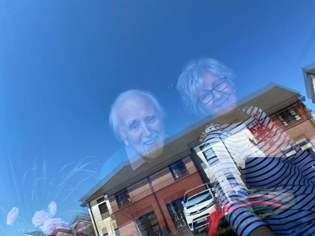 Sandi Jackson took this photograph through the living room window of her mum Marleen Jackson and her 93-year-old grandpa, Mac Sanderson from Tarbert. 'We stopped for a chat through the window on our daily walk,' said Sandi. 'Grandpa has early dementia and doesn't always remember why we can't pop in for a cuppa. These little chats at the window brighten up his day.'