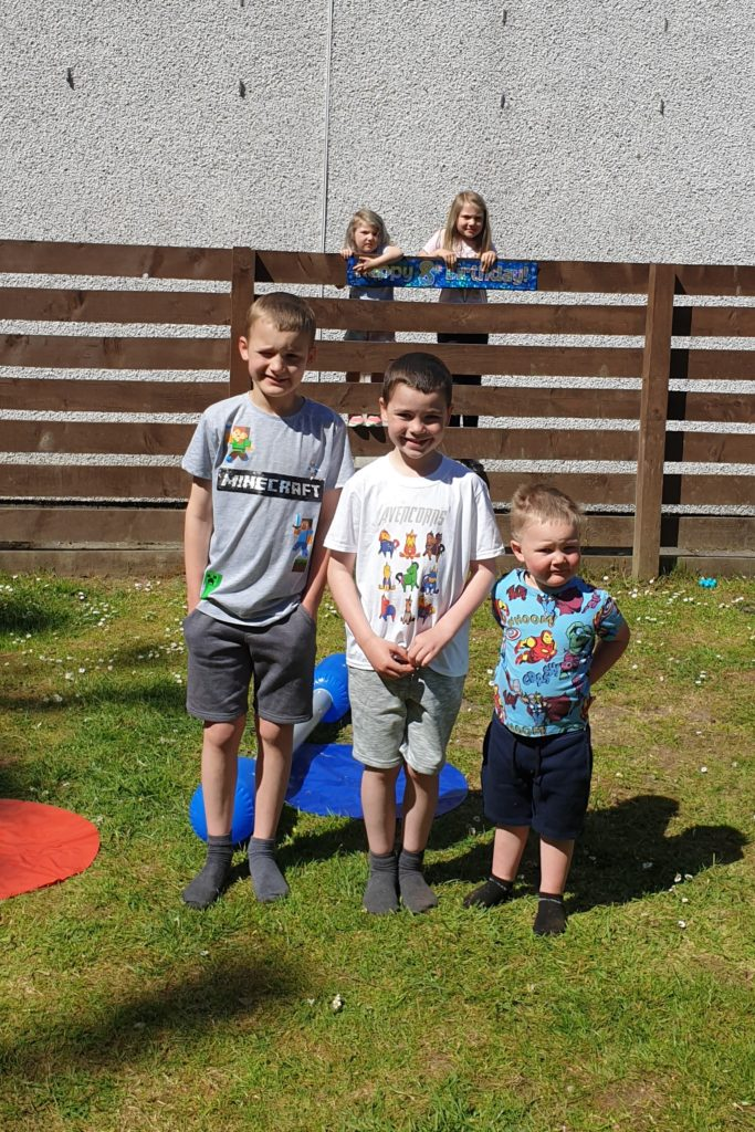 Harris Gallagher tuned eight on Wednesday May 6. His friends came to wish him happy birthday - socially distanced, of course - in Lochgilphead. The first family barbecue of the year made his day extra special. Left to right: Rebekah, Alyce, William, Harris and Innis