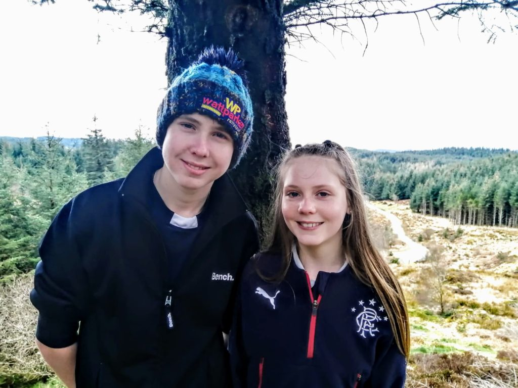 Kyra Robertson celebrates her 13th birthday on Friday June 26 and will be spending it at home in Cairnbaan with her family. She is pictured with her brother Arran, who celebrated his 16th birthday under lockdown in April