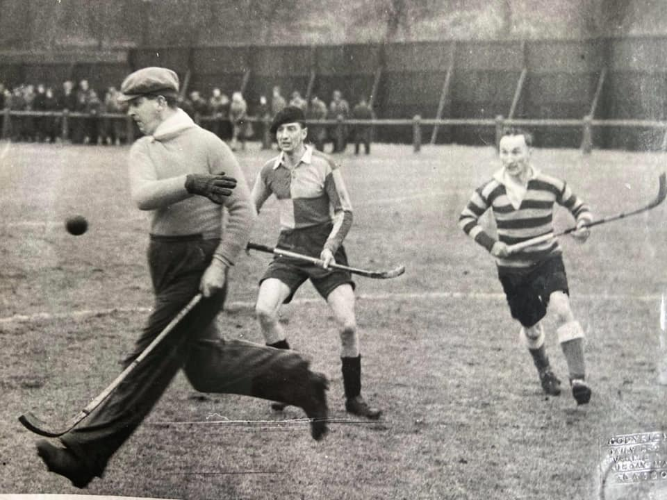 More goalmouth action from the 1947 Camanachd Cup Final, with Niven 'Bunty' Crawford in the thick of things