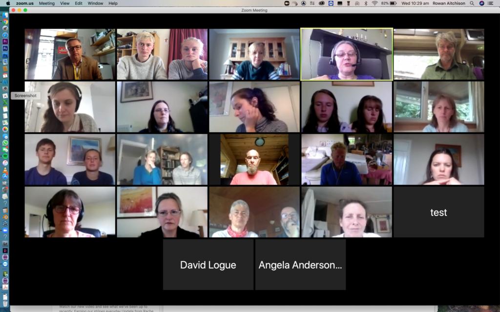 The Zoom meeting in full flow