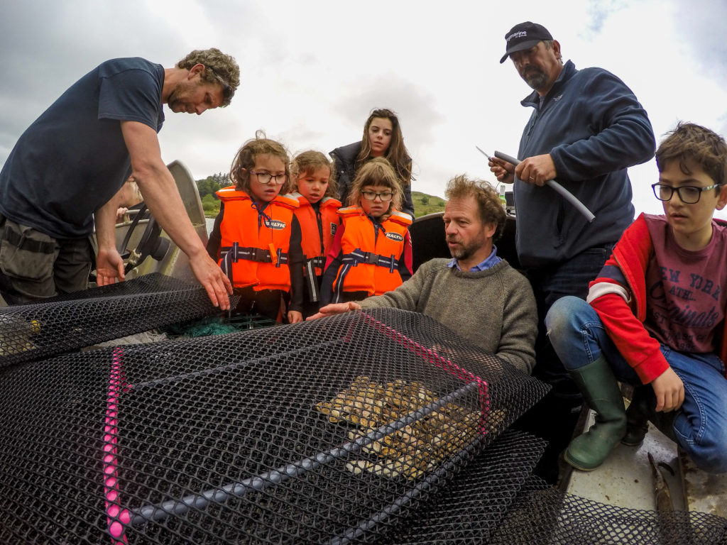 Volunteers at Ardfern help grade the native oysters. Pictured are Sylva Rose Price (bottom left), Éowyn Rose Price (bottom right) and Indira Rose Price at the back left, Rosie Day (back right), Rory Day at the far back right, Danny Renton holding the oyster and Jamie Day (far right foreground). Photo: Philip Price/Lochvisions.