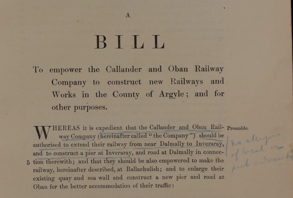 Extract from the 1897 Bill to empower the Oban and Callander Railway to construct new railways in Argyll