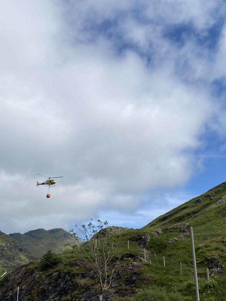 A helicopter was brought in to help clear boulders from the stricken route following the landslide on Tuesday