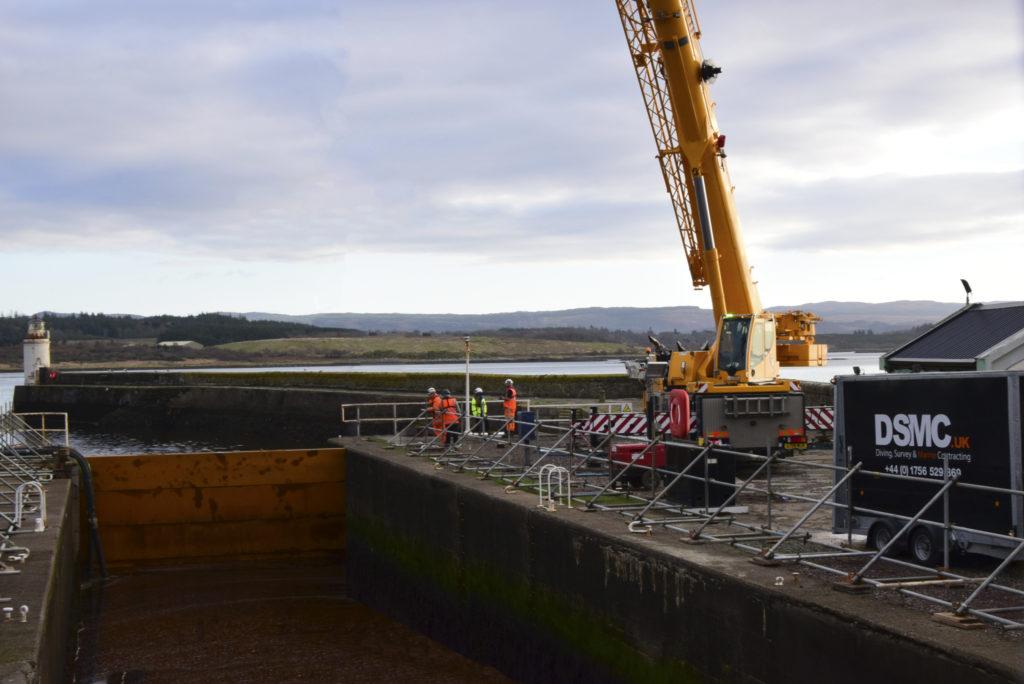 A steel gate has been installed at the Ardrishaig sea lock.