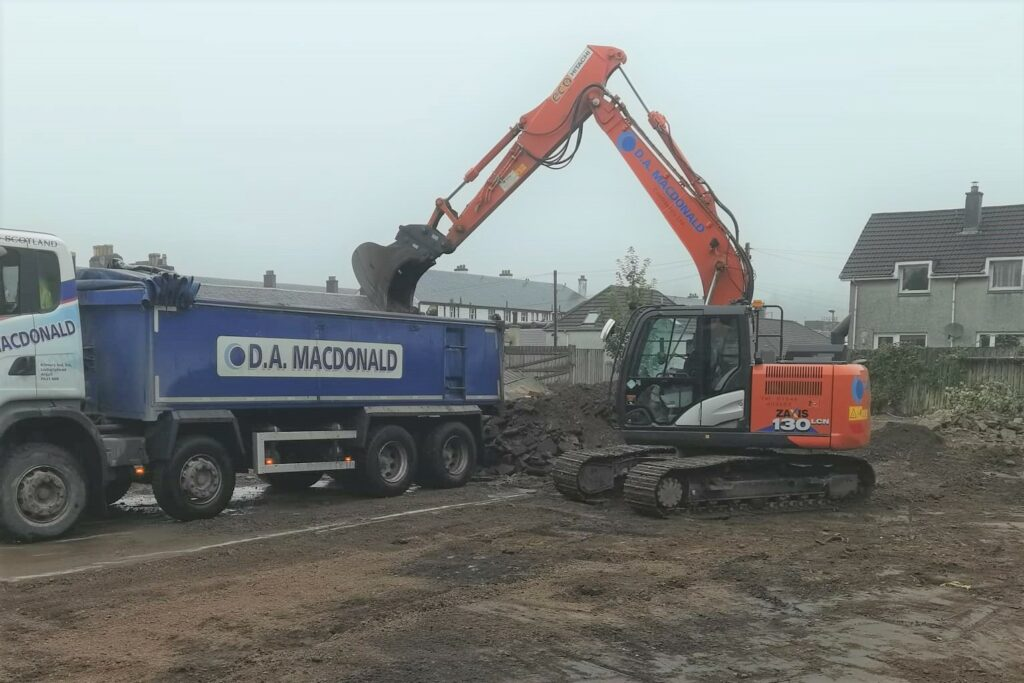 Work begins to prepare the site for construction