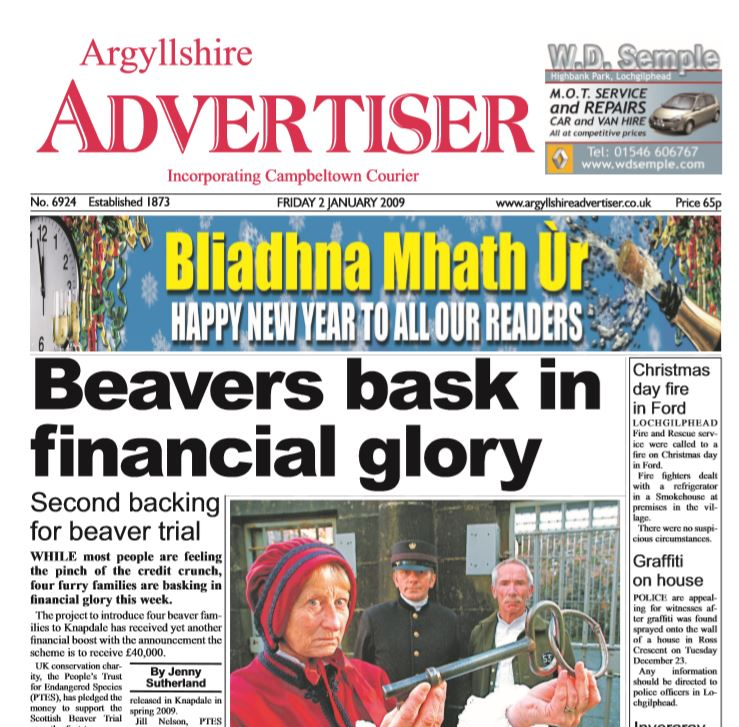 Argyllshire Advertiser PDF Archive 2009