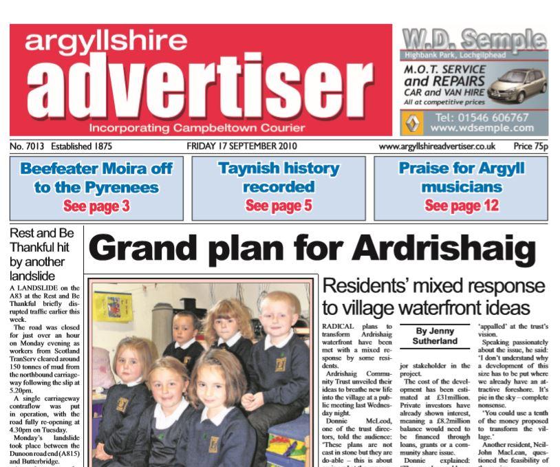 Argyllshire Advertiser PDF Archive 2010