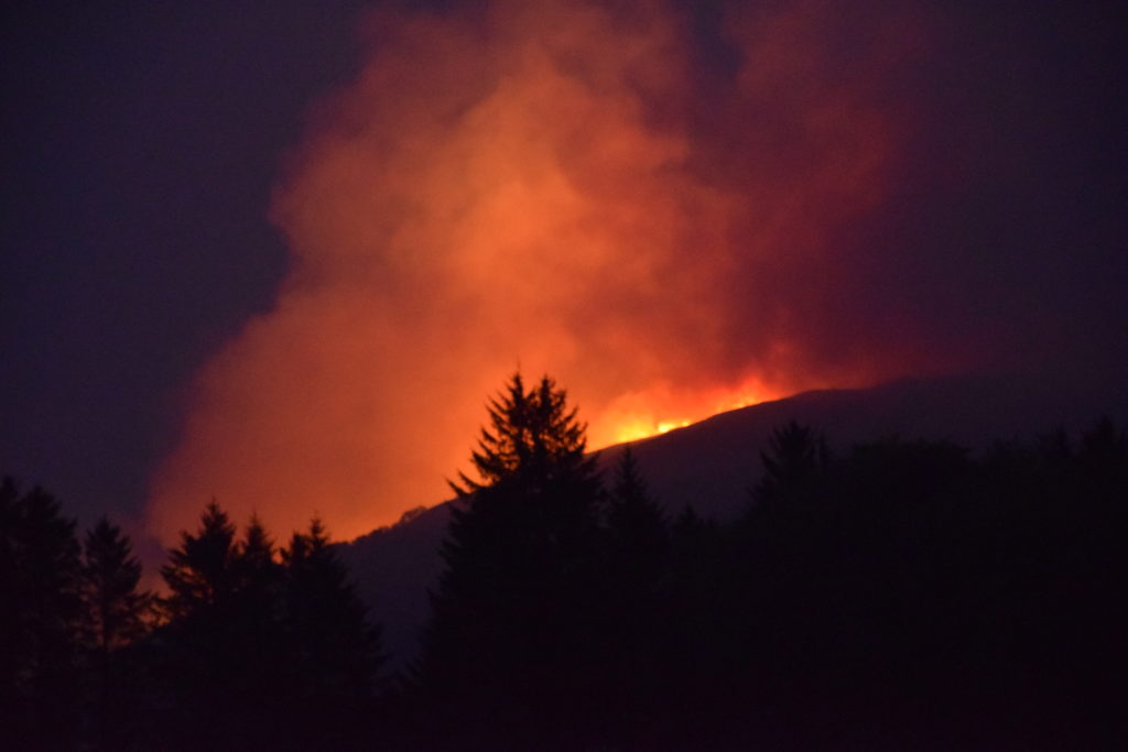 Hill fire rages on hills above Loch Fyne