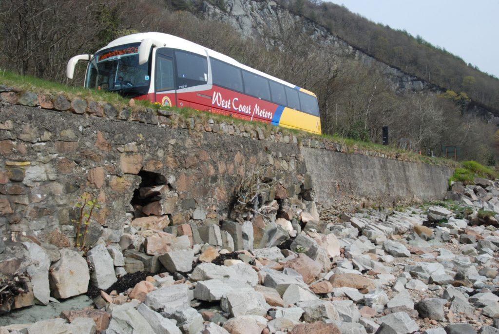 Crarae A83 closure as sea wall repaired