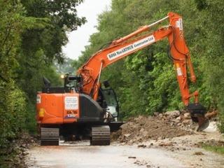 Landslide blocks lifeline Cowal road