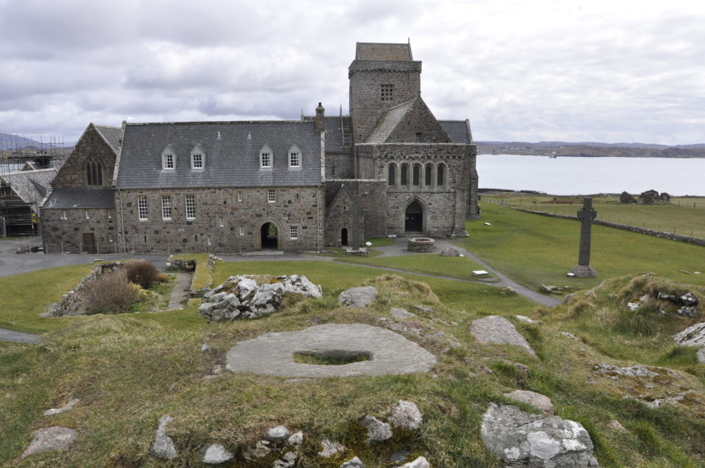 Iona Abbey seen from the site of St Columba's writing hut.
