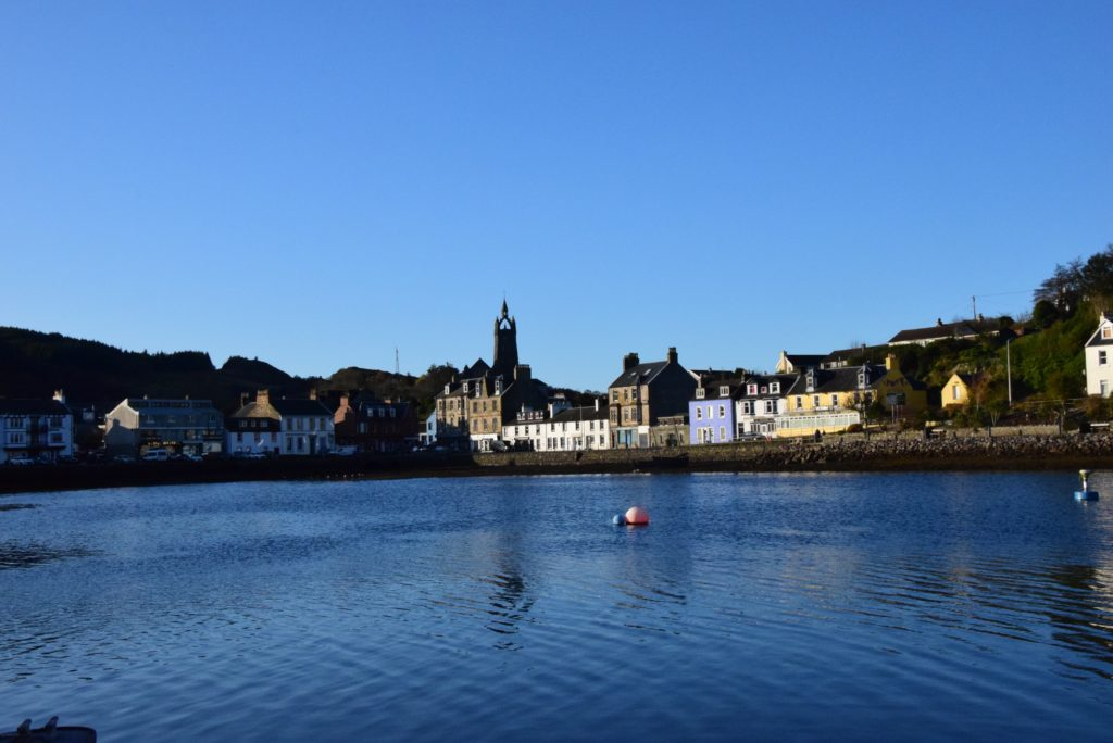The Tarbert skyline, which local people say will be ruined by at least three big pylons puncturing its beauty