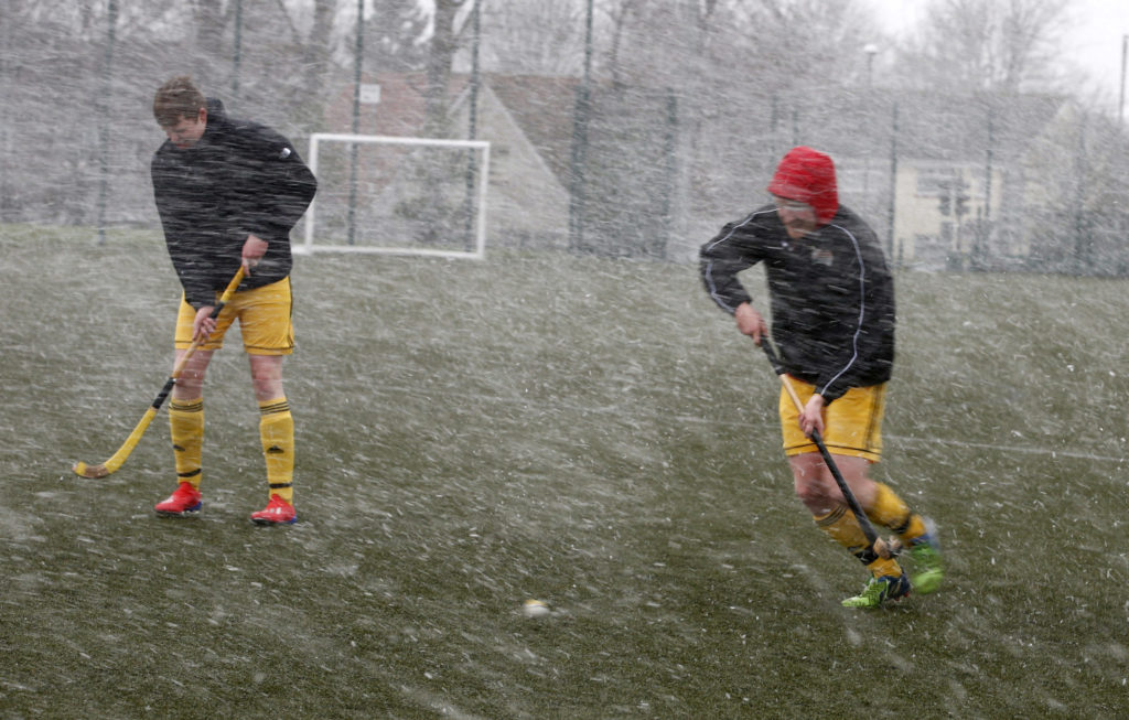 Winter warm-up for Inveraray shinty players