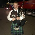 Pipe Major Craig Lang with the British Championship trophy in 2018