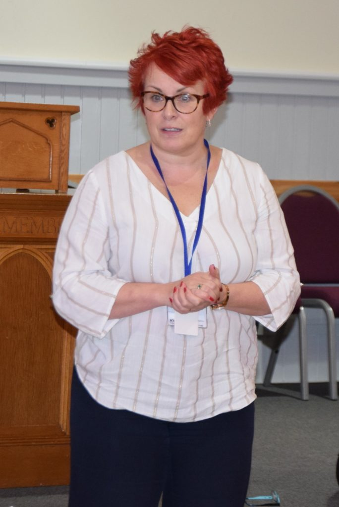 HSCP chief officer Joanna MacDonald addresses the meeting in Lochgilphead