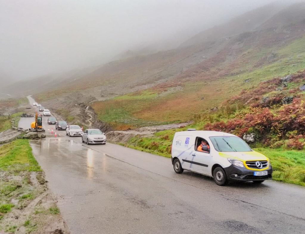 Old road detour back in use after flooding scare