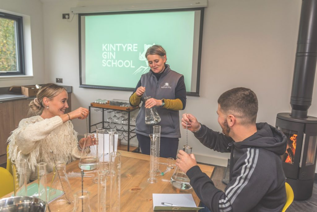 Beinn An Tuirc Distillers director Emma Macalister Hall leading a session at the Kintyre Gin School.