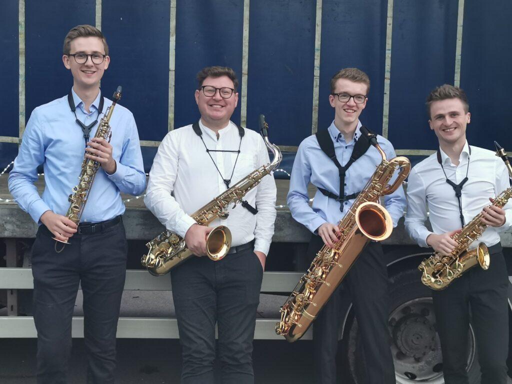 Soaring saxophones delight at drive-in concert