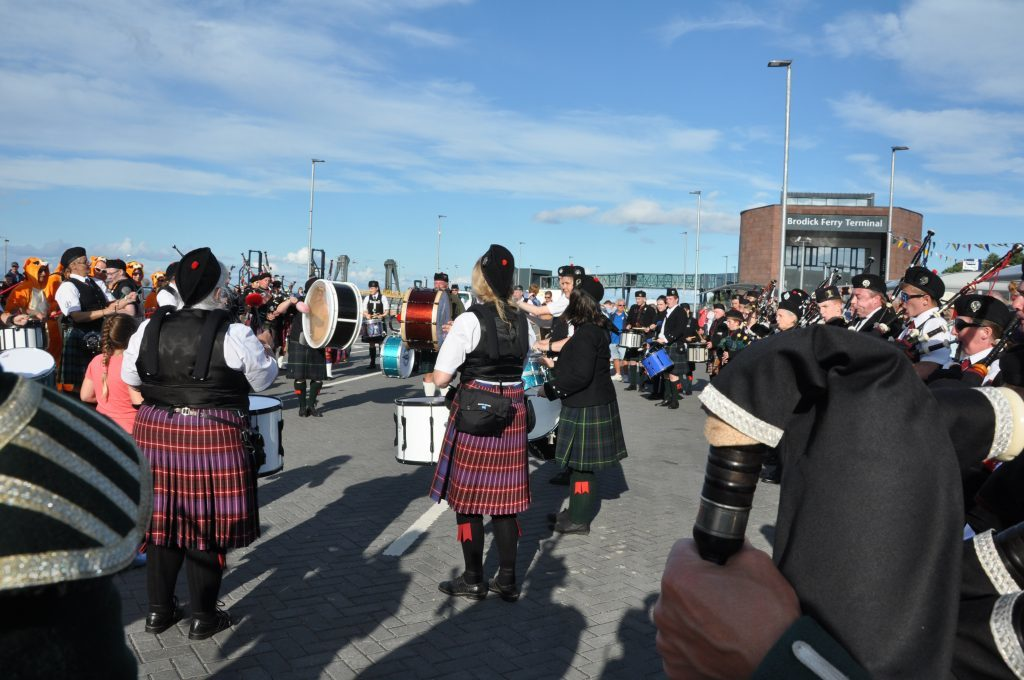 The pipe band at their traditional play-off at the pier.