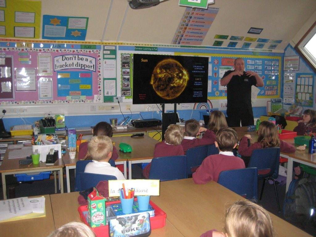 Pupils listen intently to learn about what the sun is made of