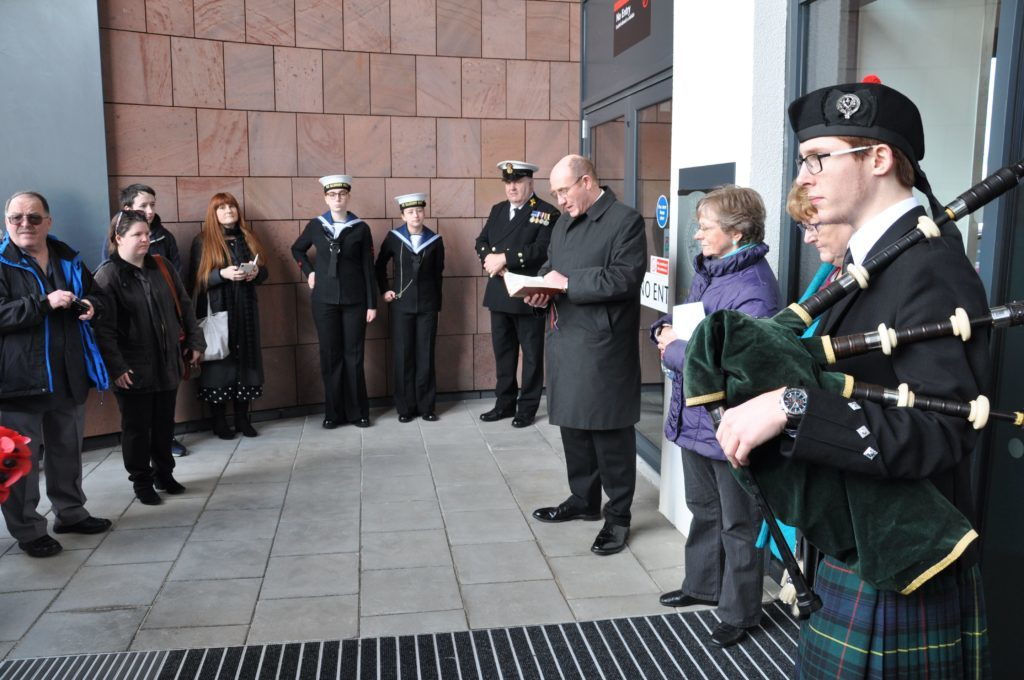Rev Angus Adamson conducted the memorial service and Ian Clarke played the lament