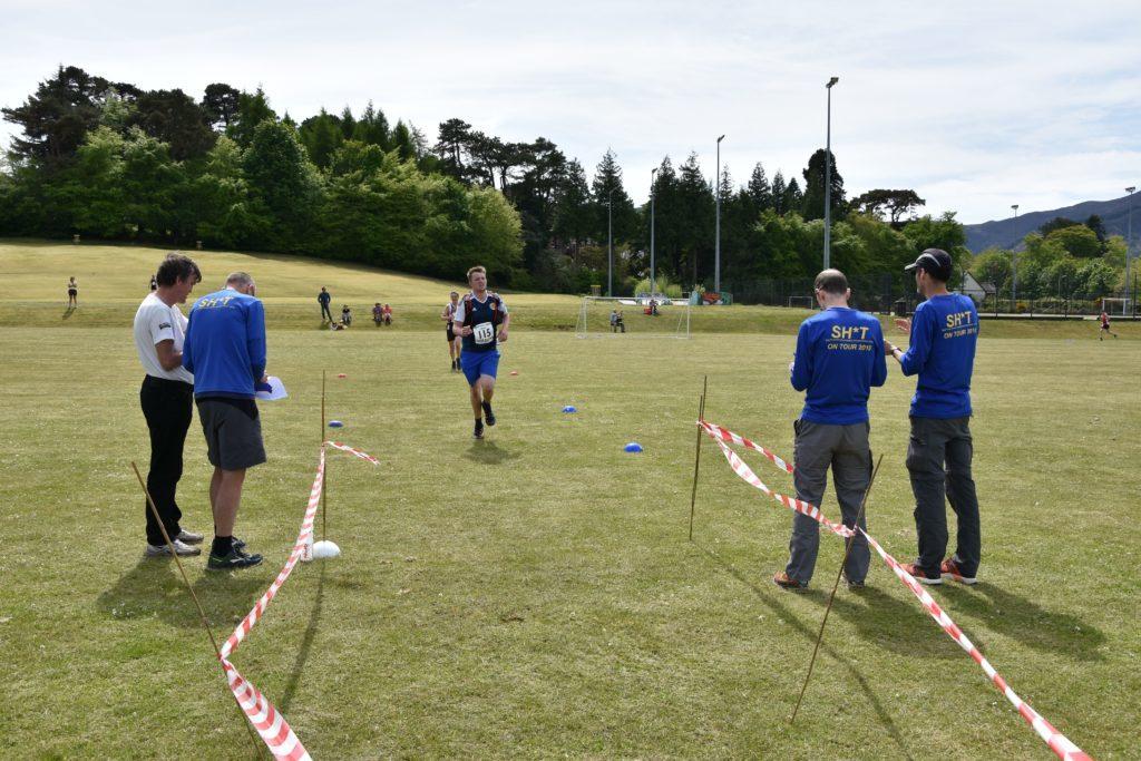 Celebrating his birthday, Danny Head prepares to cross the finish line.