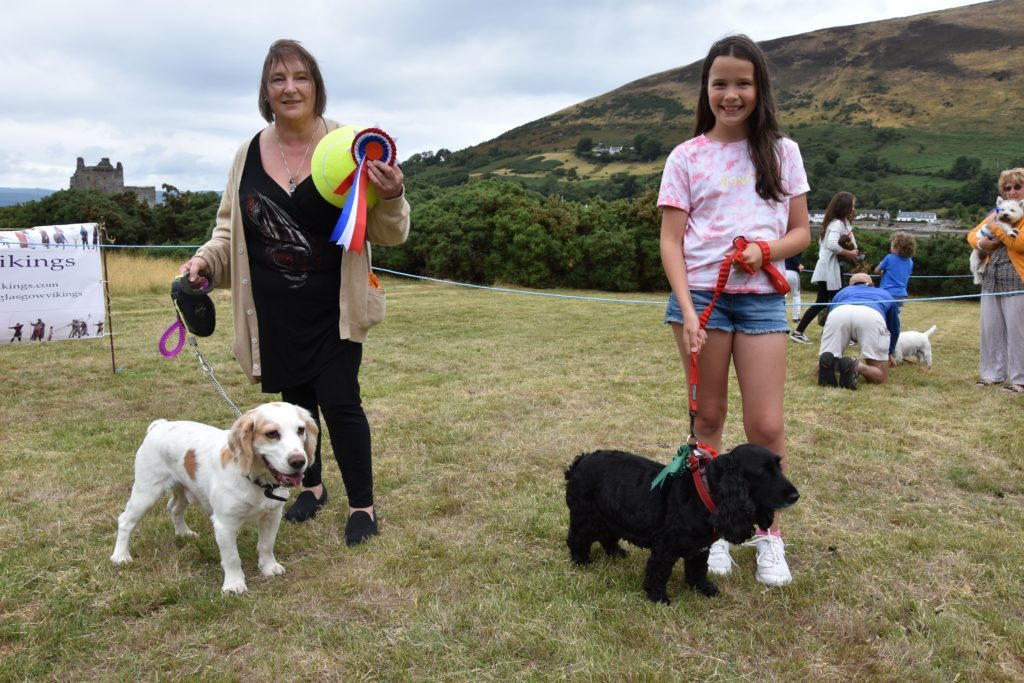 Best in show winners: Pepper the Cocker Spaniel with owner Amanda Hunter and Lola with owner Abigail Young of Whiting Bay.